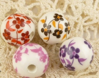 Pink, Red, Purple, Earth Toned Flower Round Ceramic Beads (4)