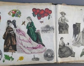 Rare 19th Century Child's Scrapbook with Fabric Pages 47 Plus Pages Amazing Historical Charmer