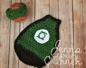 Crochet Cuddle Critter Cape Set - Green Lantern - Photography Prop - Newborn - Made To Order