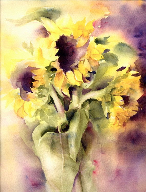 Sunflowers Painting Watercolor Print Signed Limited