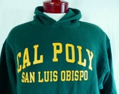 go mustangs vintage 90's Cal Poly San Luis Obispo forest green fleece hoodie graphic sweatshirt yellow gold logo pullover jumper unisex larg