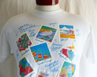 vintage 80's Princess Cruises Caribbean tropical beach white graphic t-shirt pastel blue yellow red puffy print logo travel souvenir medium