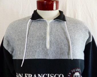 vintage 80's San Francisco California color block black heather grey fleece half zip graphic sweatshirt puffy print cable car logo Large