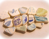 Mismatched Blue/White Sea Pottery, Patterned Beach Pottery,Pendant/Ring/Necklace Supplies, Mosaic/Mixed Media Supplies