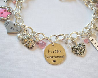 Retirement Charm Bracelet, Happy Retirement Gift, Retirement, Pink Charm Bracelet, Hand Stamped Tag, Soldered Charms, Personalized Jewelry