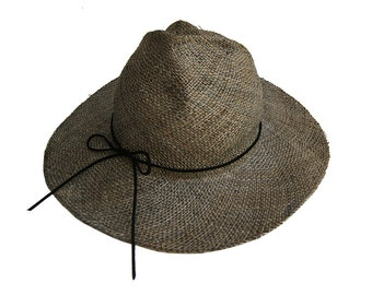Wide brim straw hat , Gray straw hat , Womens summer hat , Mens summer hat , Summer hats , Sun Hat
