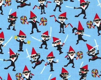 Fat Quarter Ninja Gnomes 100% Cotton Quilting Fabric - Michael Miller