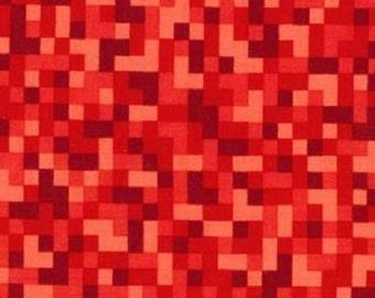 Fat Quarter Bitmap Red Pixels 100% Cotton Quilting Fabric Michael Miller