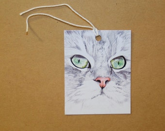 Cat Face Gift Tags: Set of Six GIFT TAGS