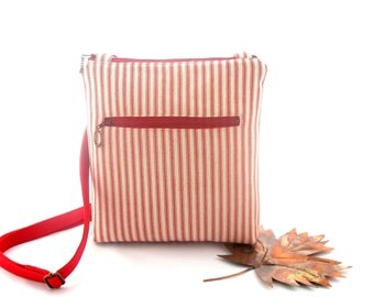 Red and white striped bag, womens crossbody bag, red ticking bag, crossbody travel bag, red zipper purse, adjustable strap bag, red hip bag