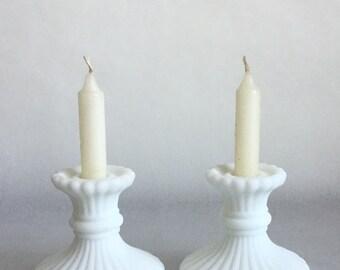 Set of Vintage white milk glass candle sticks, Retro Wedding Chic!