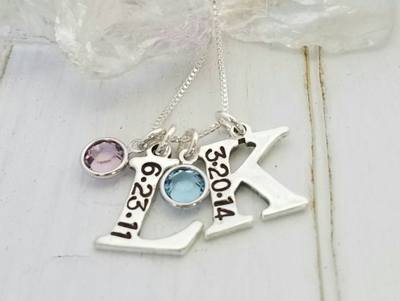 Personalized Initial Necklace, Sterling silver initial necklace, Two Children's initials, Custom Mother Necklace, Initial Letter, Birthstone