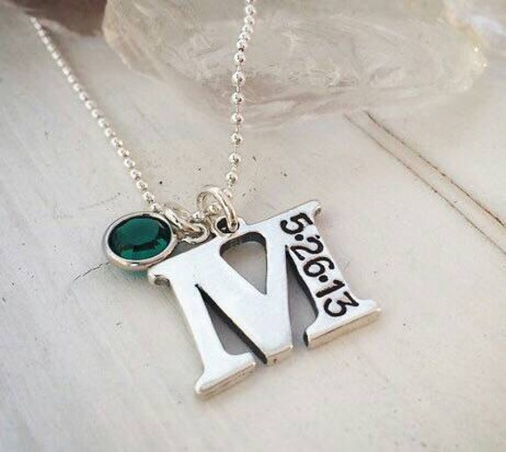 Large Solid Sterling Silver Initial Letter Charm, Custom Made, Hand Stamped, Personalized Mother Necklace, Birth Date and Birthstone