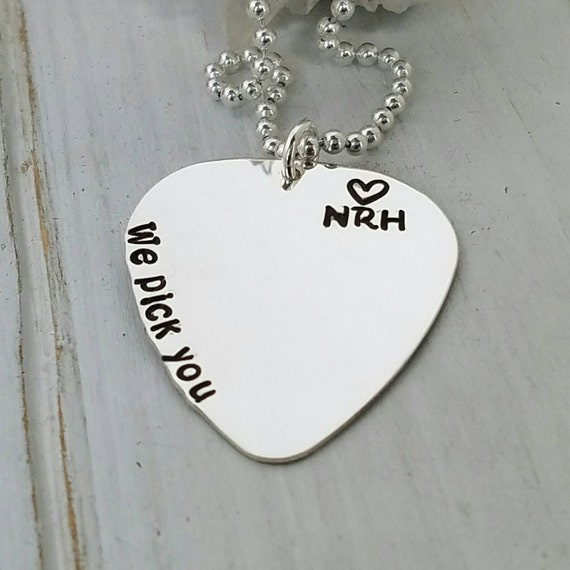 Guitar Pick Necklace, Personalized mens, Sterling silver, Custom men's jewelry, Fathers Day gift, Daddy name necklace, Mens personalized