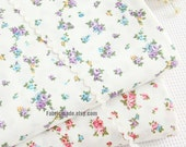 Little Pink Purple Rose Flower Cotton Fabric,  Shabby Chic Floral On Off White Fabric  A B- 1/2 Yard