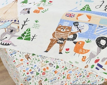 "Cotton Linen Fabric/ Kids Cartoon Style Fox Bears Fabric/ Curtain Fabric/ Upholstery/ Home Decor- 39""/100cm"