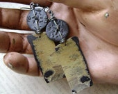 RESERVED, Hike in The Desert, Chohua jasper, stone slab earrings, organic stone earring, primitive contemporary, wabi sabi, AnvilArtifacts