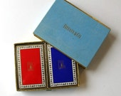 Rare Vintage Tiffany & Company Playing Cards with original Case, Double Deck, Red and Blue, gift idea