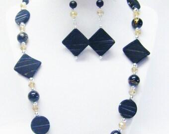 Black Rhombus & Round Swirl Bead Necklace/Bracelet/Earrings Set