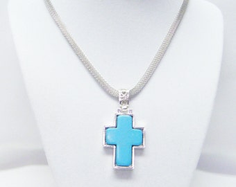"""Turquoise in Silver Plated """"LOOK' Cross Pendant Necklace"""