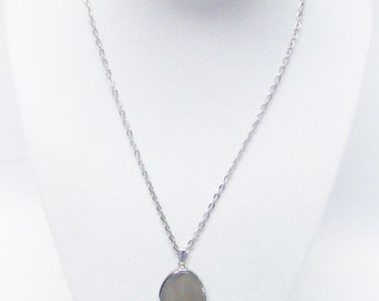 Small Polished Agate Slab w/Silver Casing Pendant Necklace