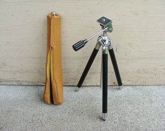 Vintage Camera Tripod and Leather Case