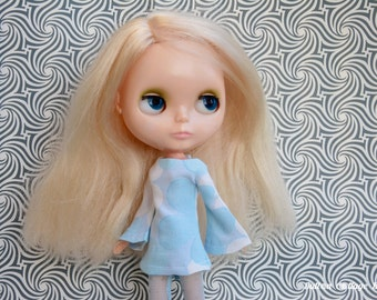 Clearance:  Bell sleeved vintage fabric blue muted flowers patterned retro mod style dress for Blythe Pullip Dal licca and similar dolls