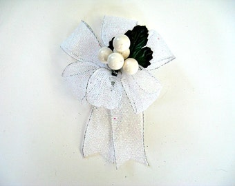 All white glitter bow, Small bow for Christmas trees, Gift bow for baskets and bags, Christmas berry gift bow, Christmas in July bow (C477)