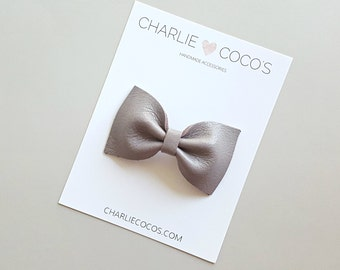 "Baby / Girls Leather Bow Headband, Leather Hair Bow Clip, Genuine Leather Baby Bows ""Mauve Classic"" charliecocos"