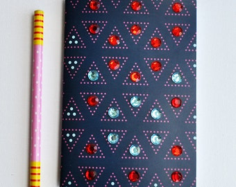 Handmade Blank Notebook with Rhinestones Red Turquoise Decorated Journal, Small Notepad A6