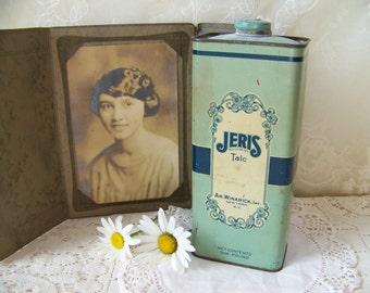 Vintage Talc Tin Jeris AR. Winarick, Inc. New York, N.Y. Vintage Blue Decor.Shabby Chic Bedroom Decor.Powder Room.Vintage Advertising Tins.