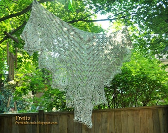 Beautiful Large Hand Knit Lace Shawl, Shoulder Wrap, Triangular Lace Scarf.