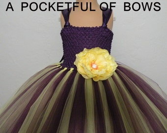 Plum and Yellow Flower Girl Dress Long Eggplant Tulle Dress Flower Girl Dress in Eggplant and Yellow