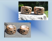 2 Large Hole Dreadlock Beads, Eye of Horus Dread Beads, Egyptian Hair Accessories, Brown Beads,  Macrame Beads, Ceramic Pottery, Clay Beads