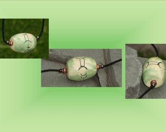 Gemini Necklace, Sun Sign Pendant, Zodiac Astrology Jewelry, Green Ceramic Focal Bead, Wearable Pottery, Mercury Amulet Sign