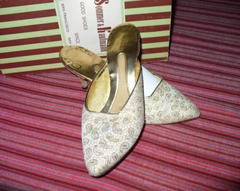 Gold Brocade '60s Kitten Heels