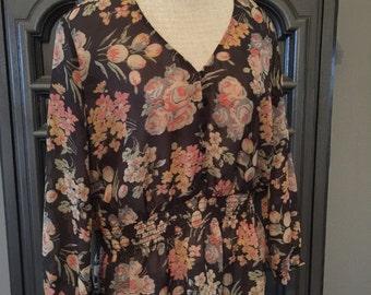 90s RL Chaps Romantic floral peasant blouse