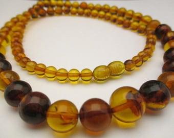 Amber Baltic Necklace Genuine Vintage 27.61 Gr Round Perfect Mix Color (PT624)