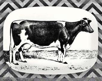 Cow serving melamine platter, Holstein