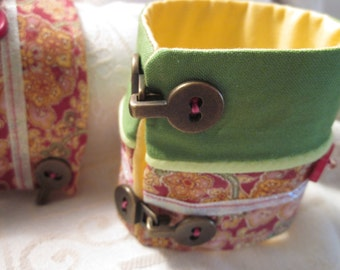 Pink Paisley Green and Yellow Fabric Pair of Cuffs With Buttons