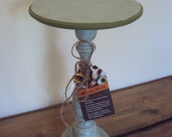 Shabby Farmhouse Candle Stand - Distressed Cottage Decor - Blue & Green Pillar Holder - Wooden Cake Stand - Rustic Centerpiece