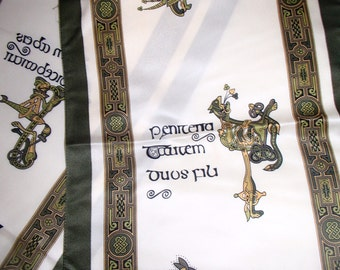 BOOK OF KELLS/ Scarf Ireland /Celtic Knots/Creatures Magic/ Vintage Scarf Original/ Missing Book Form Bible