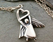 Guardian Angel Necklace - 925 Sterling Silver - Heart Love Protection Charm New