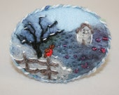 Winter Robin - Embroidered and felted moorland scene by Lynwoodcrafts
