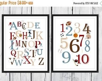 ONSALE Sports Themed Alphabet  and Number Print Set  -  Custom Colors - Sports  Nursery Decor