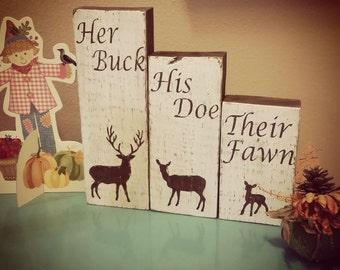 Rustic Family wood blocks (Buck)