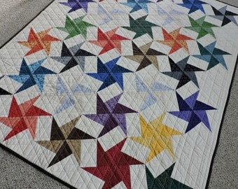"Modern Quilt, Color Collection fabrics, Star Quilt, Patchwork Quilt, 41"" x 51"", for Home Decor, Baby or Toddler"