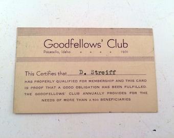 1931 Goodfellows' Club Card
