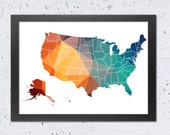 USA Map Printable File, USA States Map Geometric Silhouette Green Blue Orange Colors, Modern Wall Room Home Office Decor Travel Gift DIY art