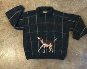 vintage plaid wool sweater with dog design. retro clothing.